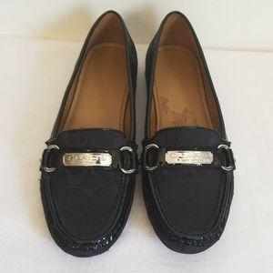 Coach Felisha Black Canvas Leather Loafer